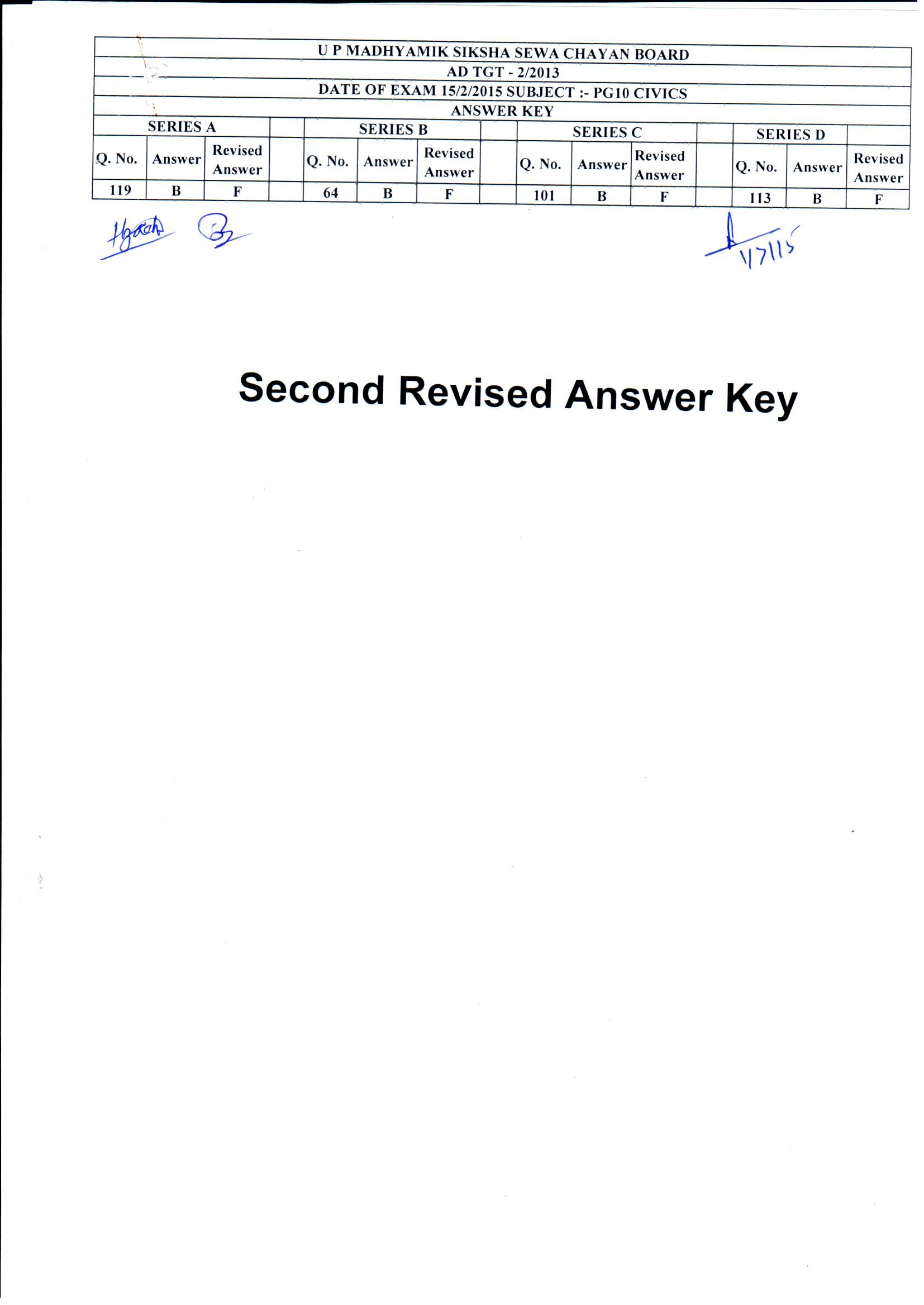 Up Parichalak Answer Key 2015 Pdf